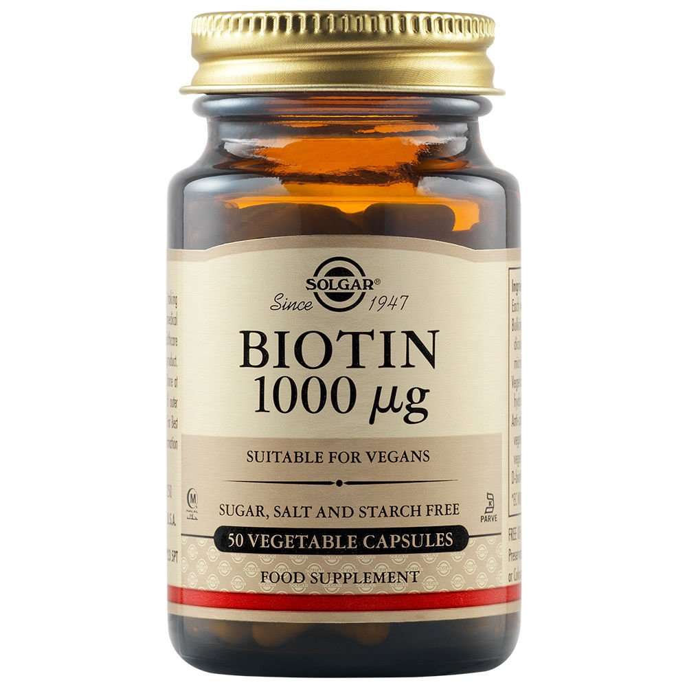 Solgar Biotin Συμπλήρωμα Διατροφής για την Υγεία Μαλλιών και του Δέρματος veg.caps – 1000μg tablets 50 caps