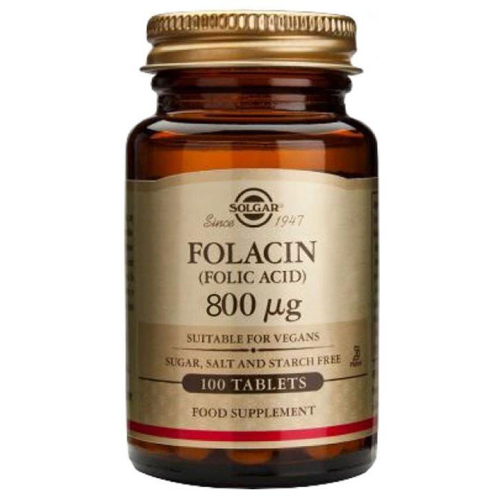 Solgar Folacin (Folic Acid) Συμπλήρωμα Διατροφής Χρήσιμο σε Περιπτώσεις Αναιμίας Λόγω Έλλειψης Φολικού Οξέως 100tablets – 800μg
