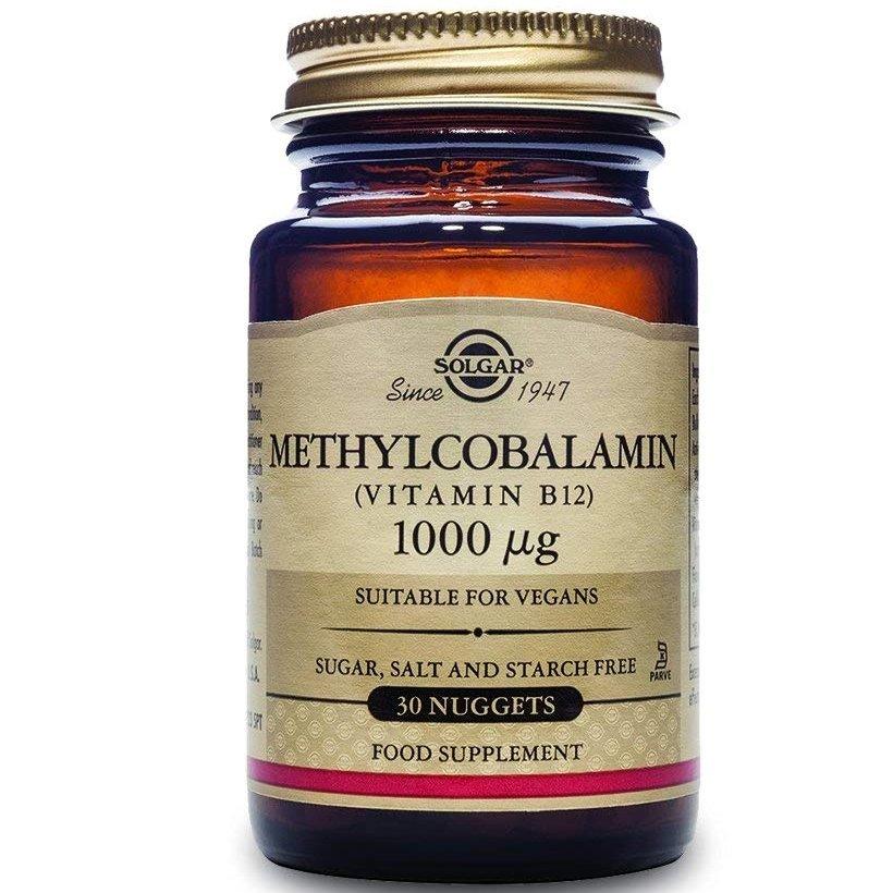 Solgar Methylcobalamin (Vitamin B12) 1000mcg,Συμπλήρωμα Διατροφής για την Καλή Λειτουργία του Νευρικού Συστήματος – 1000μg 30 nuggets