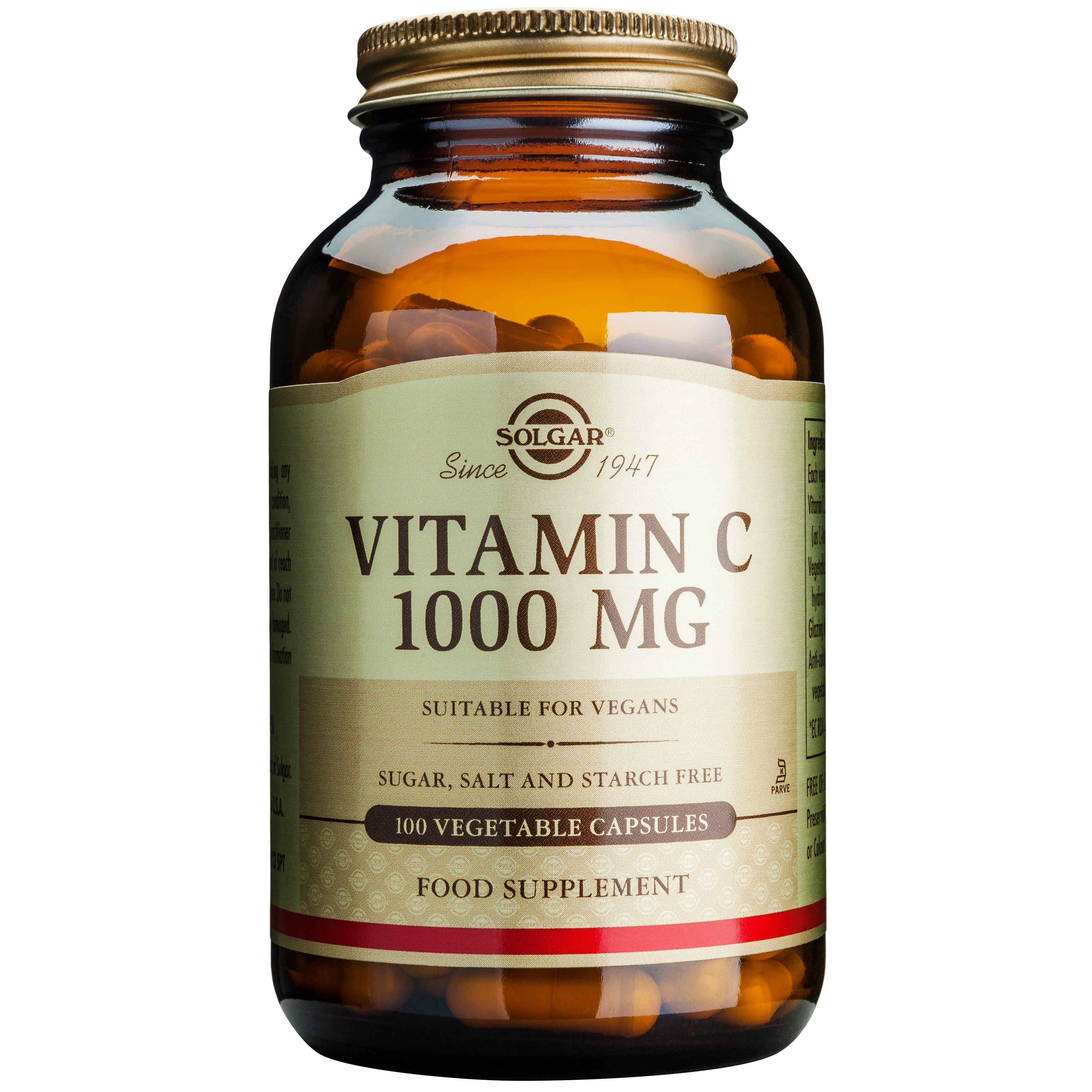 Solgar Vitamin C Αντιοξειδωτική Βιταμίνη Απαραίτητη για την Υγεία του Οργανισμού veg.caps – 1000 mg/100 caps