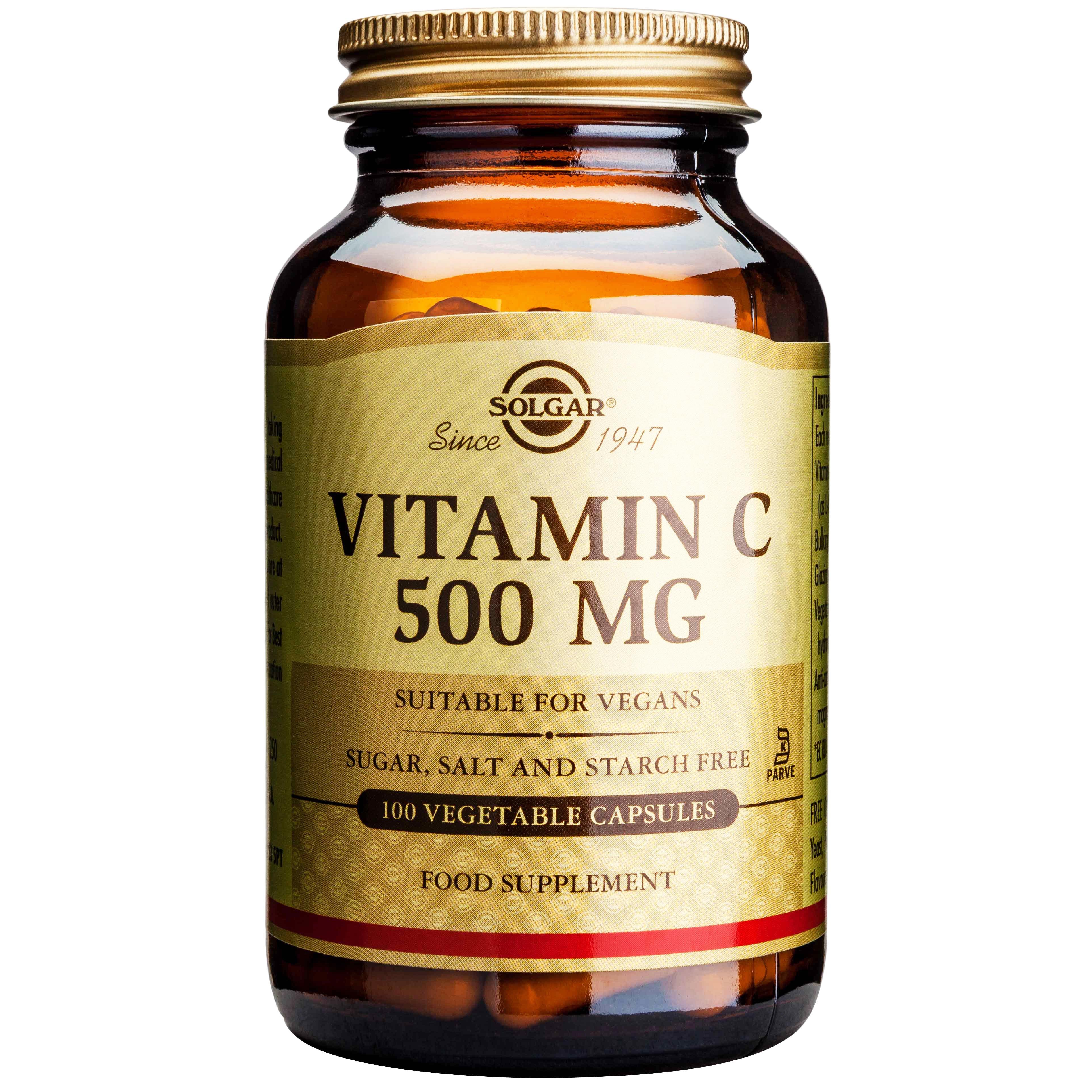 Solgar Vitamin C Αντιοξειδωτική Βιταμίνη Απαραίτητη για την Υγεία του Οργανισμού veg.caps – 500mg/100 caps