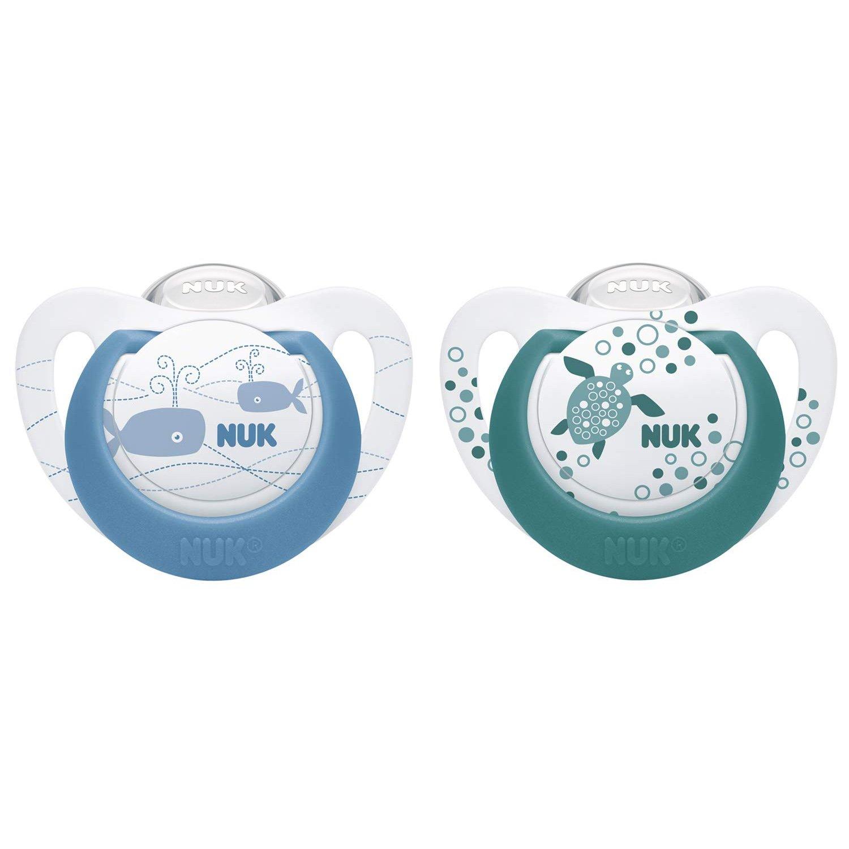 Nuk Genius Color Πιπίλες Σιλικόνης με Κρίκο 2τμχ – Μπλε Πρασινο 6-18 Μηνών