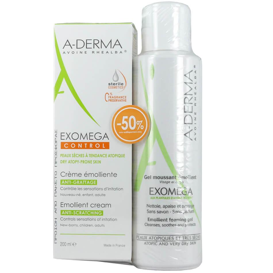 A-derma Πακέτο Προσφοράς Exomega Control Creme Emolliente 200ml &Exomega Gel Moussant Emollient 500ml -50% στο Καθαριστικό