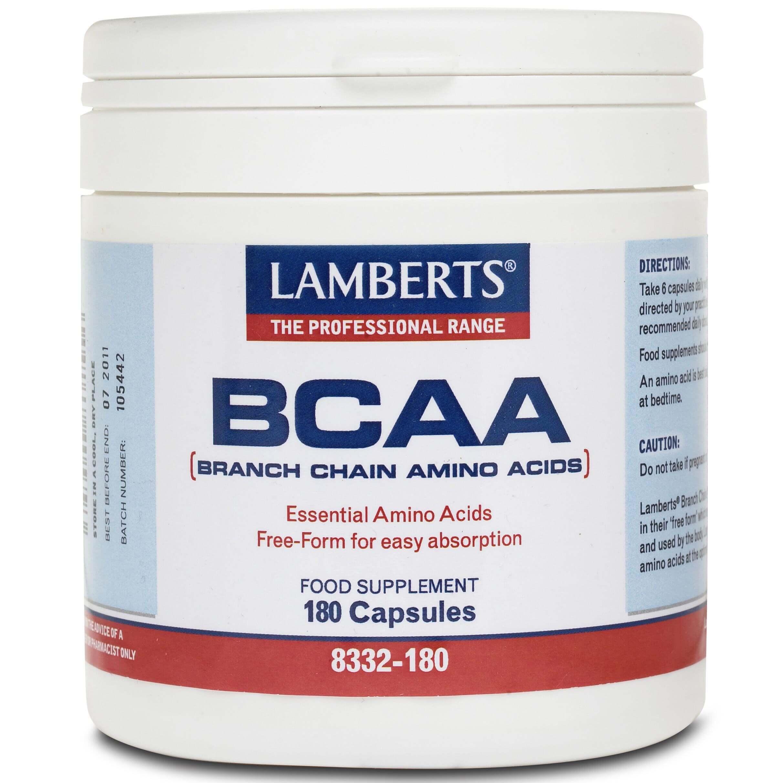 Lamberts BCAA-Branch Chain Amino Acids Παρέχει Τρία Απαραίτητα Αμινοξέα 180 caps