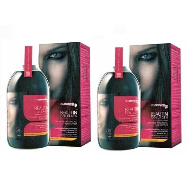 2 x MyElements Beautin Collagen Υδρολυμένο Πόσιμο Κολλαγόνο με Υαλουρονικό Οξύ Και Βιταμίνες A,B,C 2x500ml – 1 ΣΟΚΟΛΑΤΑ + 1 ΦΡΑΟΥΛΑ-ΒΑΝΙΛΙΑ