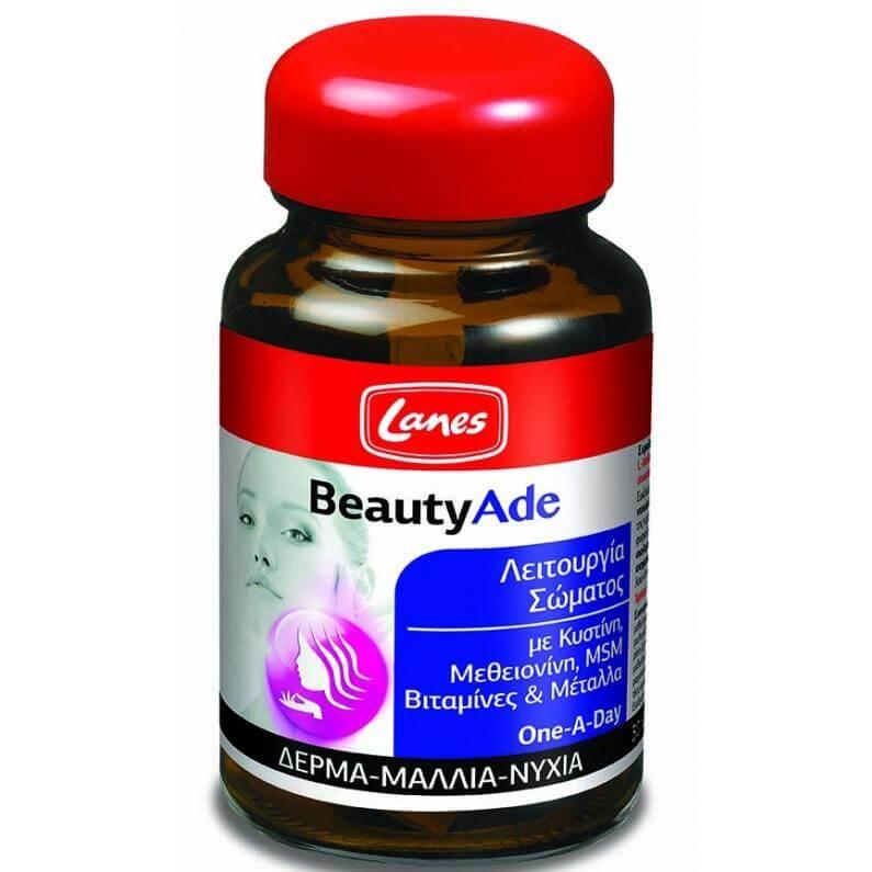 Lanes BeautyAde Ισχυρή Φόρμουλα για Υγιή Μαλλιά, Νύχια & Δέρμα, Χαρίζει Όμορφη & Λαμπερή Επιδερμίδα 30 tabs