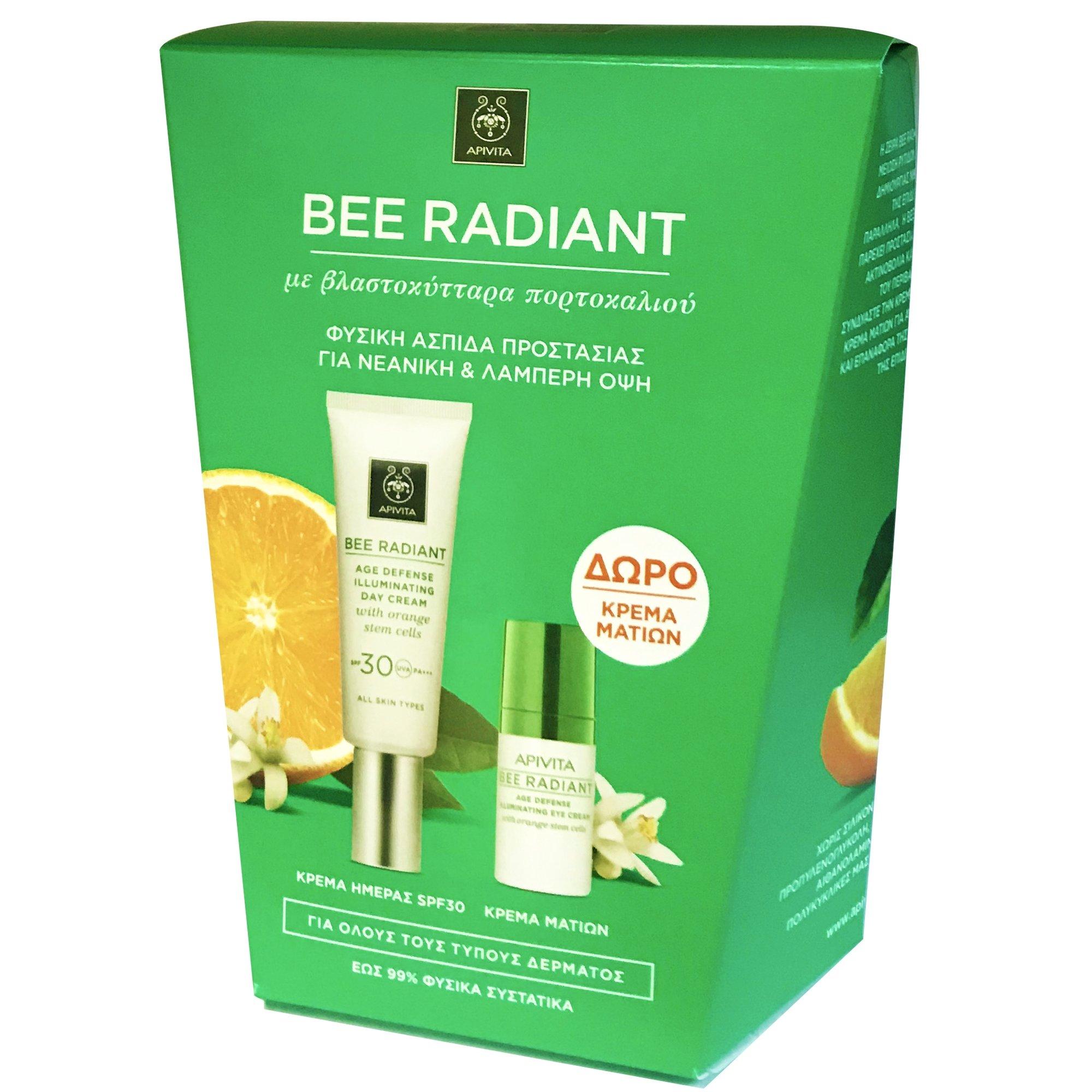 Apivita Πακέτο Προσφοράς Bee Radiant Age Defence Illuminating Day Cream Spf30, 40ml & Bee Radiant Eye Cream 15ml