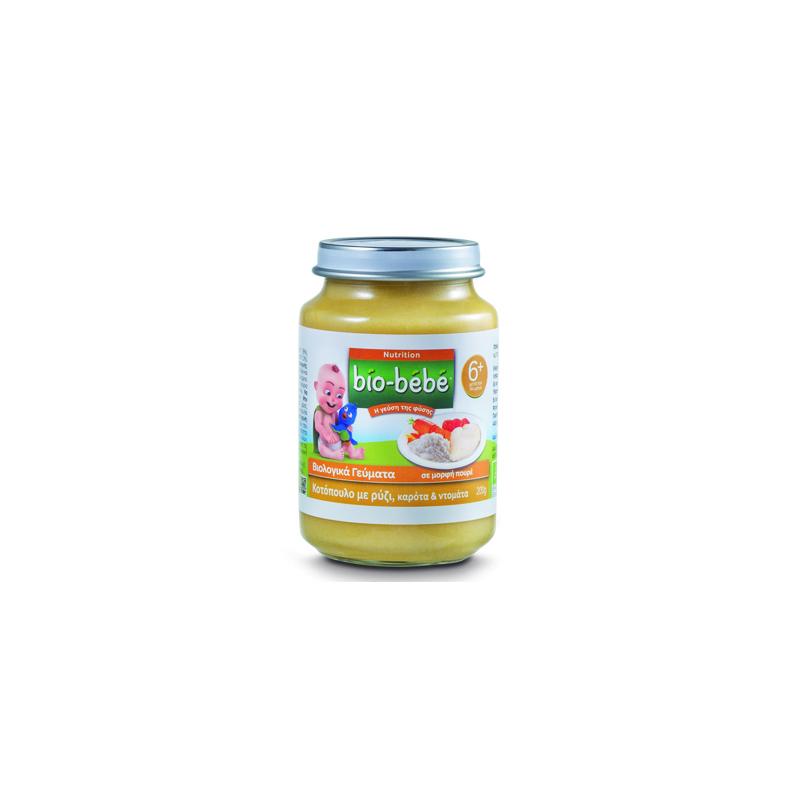 Bio Bebe Nutrition Βιολογική Βρεφική Τροφή Κοτόπουλο με Ρύζι, Καρότα & Ντομάτα, από τον 6ο Mήνα 200 gr