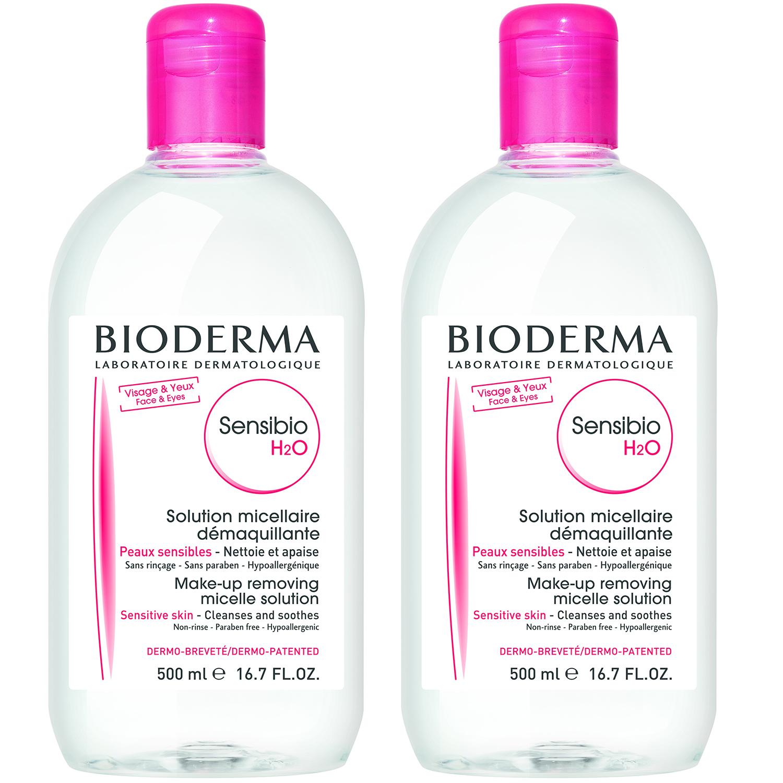 Bioderma Sensibio H2O Ήπιο Διάλυμα Καθαρισμού και Ντεμακιγιάζ για Ευαίσθητες Επιδερμίδες 1+1 2x500ml -50% στο 2o Προϊόν