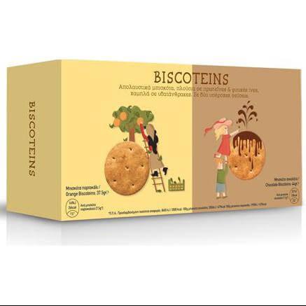 Power Health Biscoteins Μπισκότα Πλούσια σε Πρωτεΐνες & Φυτικές Ίνες Γεύση Σοκολάτα & Πορτοκάλι 10τμχ