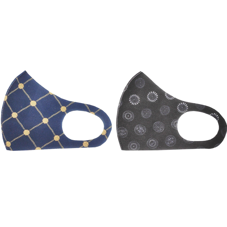 TiLi Fashion Face Mask Μάσκα Ενηλίκων Πολλαπλών Χρήσεων Μαύρο – Σκούρο Μπλέ Σχέδιο 2 Τεμάχια