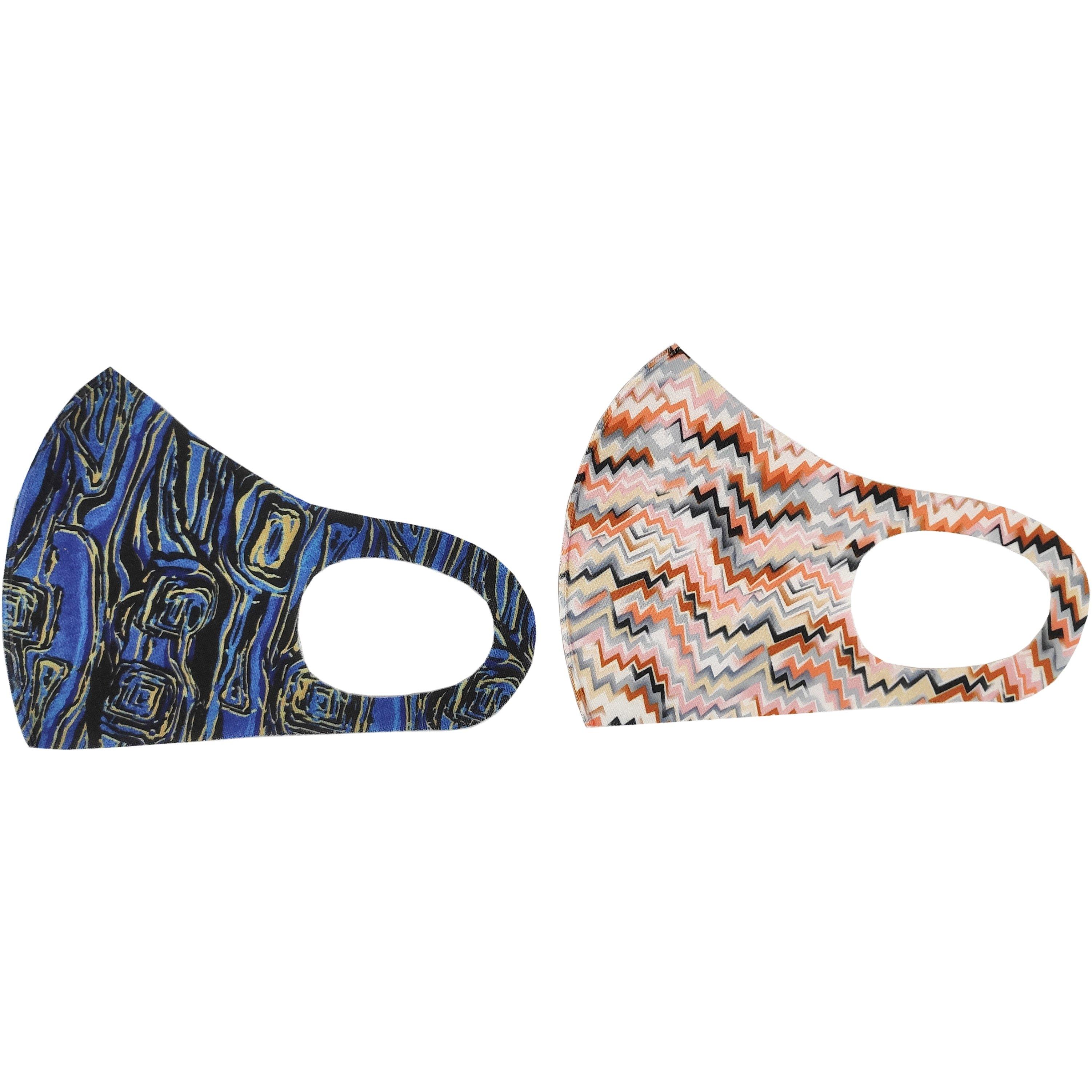 TiLi Fashion Face Mask Μάσκα Ενηλίκων Πολλαπλών Χρήσεων Μπλε – Ροζ Εμπριμέ Σχέδιο 2 Τεμάχια