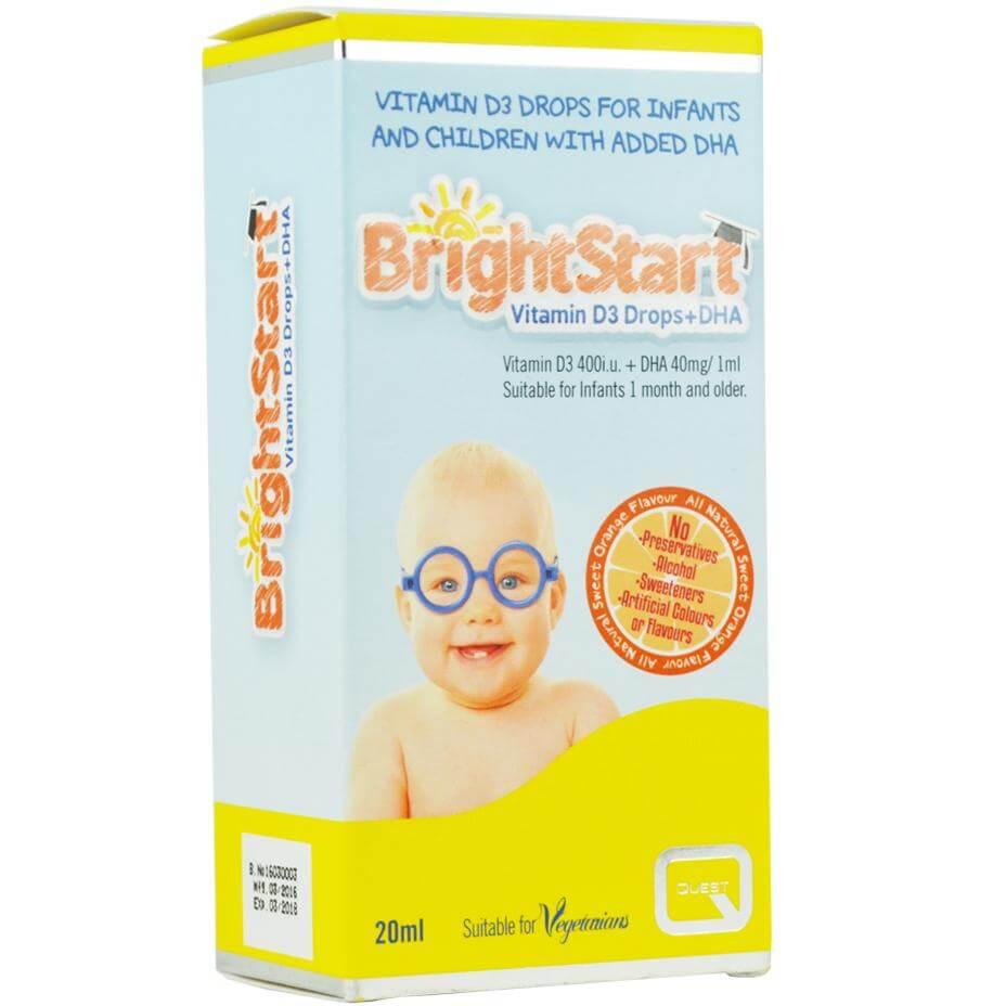 Quest BrightStart Vitamin D3 Drops & DHA Συμπλήρωμα Διατροφής για τη Σωστή Ανάπτυξη Βρεφών & Παιδιών έως 5 Ετών 20ml