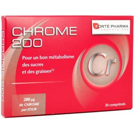 Forte Pharma Chrome 200 Συμπλήρωμα Διατροφής με Χρώμιο, Συμβάλει στην Αύξηση του Μεταβολισμού & στη Μείωση της Όρεξης 30tabs