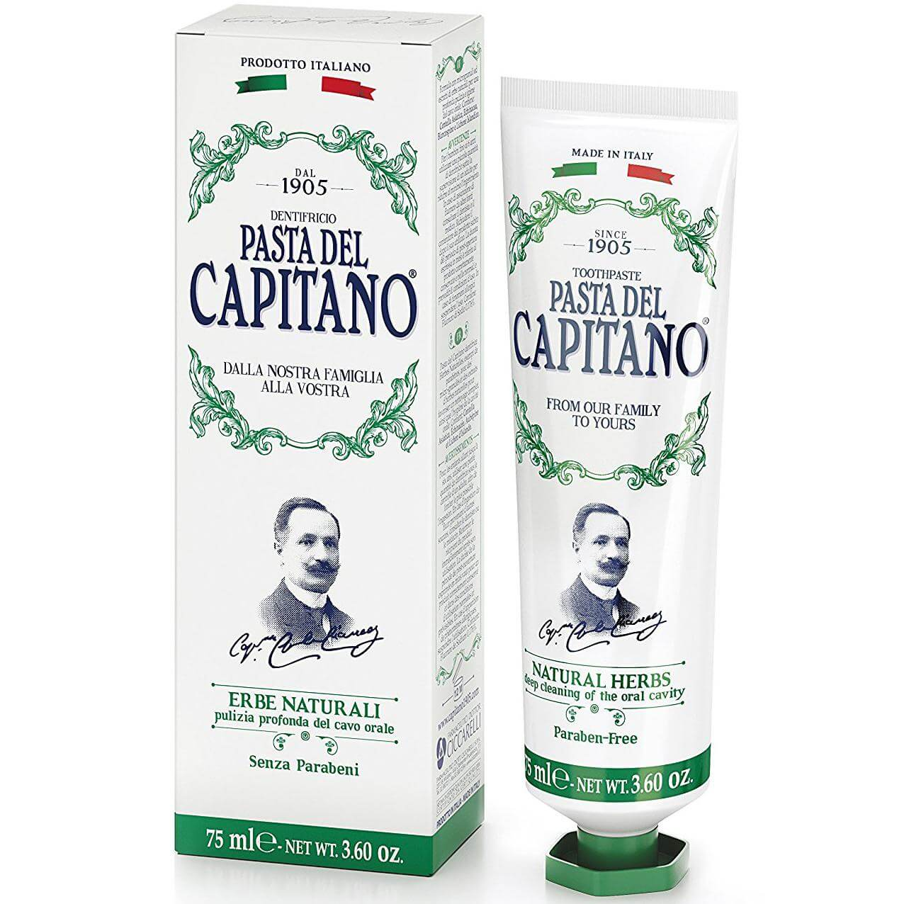 Pasta Del Capitano Natural Herbs Toothpaste Οδοντόκρεμα με Καταπραϋντικές Ιδιότητες, Καταπολεμά Τους Ερεθισμούς 75ml