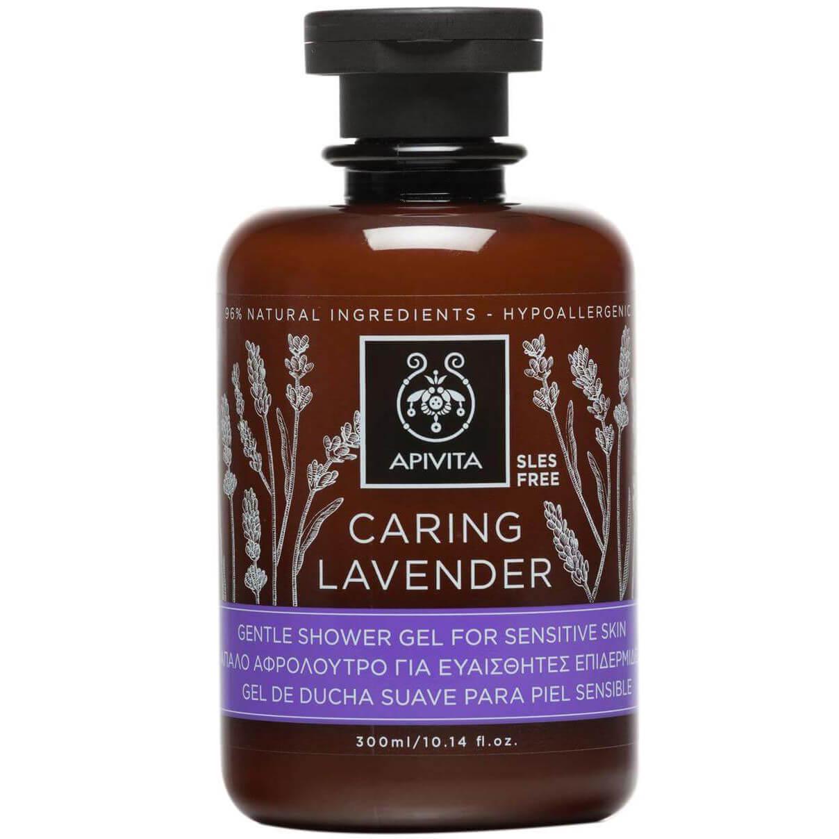 Apivita Caring Lavender Shower Gel Χαλαρωτικό Αφρόλουτρο για Ευαίσθητες Επιδερμίδες με Βιολογικό Αιθέριο Έλαιο Λεβάντας 300ml