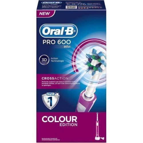 Oral-B PRO 600 Μωβ – Επαναφορτιζόμενη Ηλεκτρική Οδοντόβουρτσα