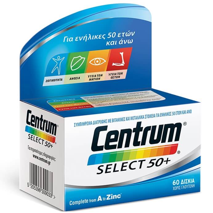 Centrum Select 50+ Complete from A to Zinc, Συμπλήρωμα Διατροφής Με Ειδικά Ισορροπημένη Σύνθεση 60 Δισκία