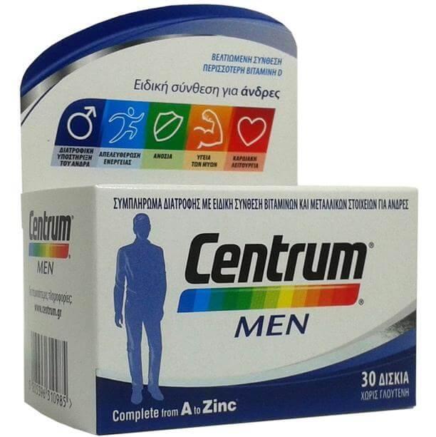 Centrum Men Συμπλήρωμα Διατροφής, Βελτιωμένη Ειδική Σύνθεση Βιταμινών, Μεταλλικών Στοιχείων & Βιταμίνης D, για Άνδρες 30Tabs