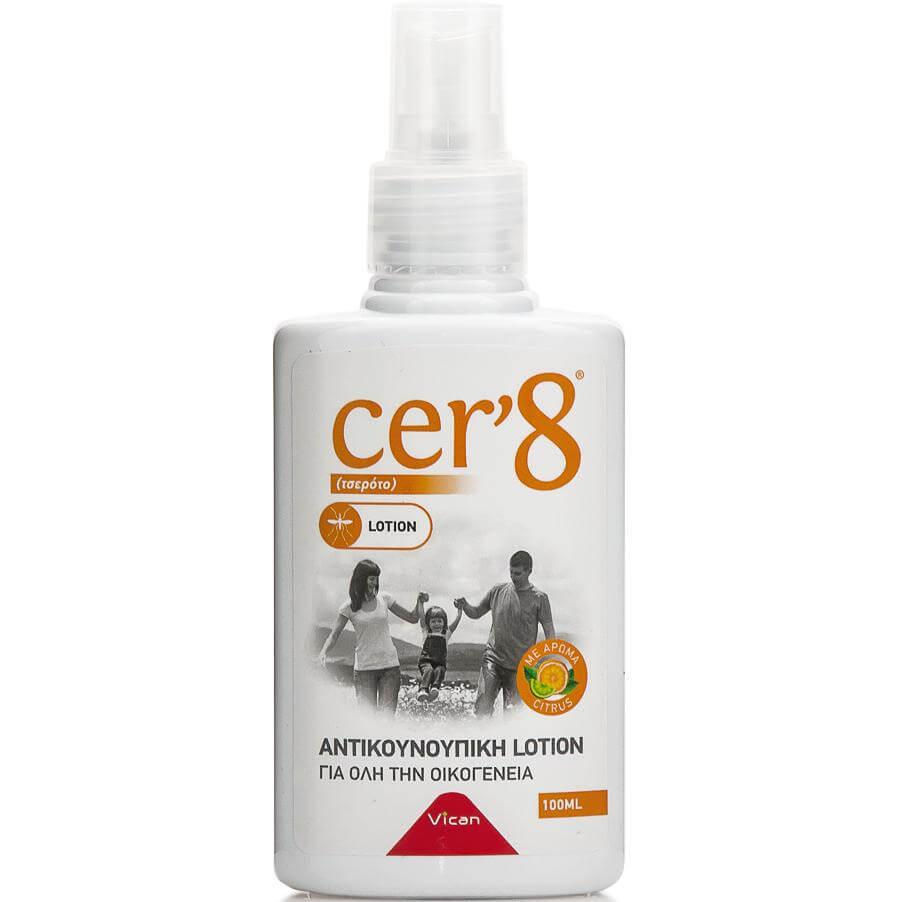 Vican Cer8 Αντικουνουπική Λοσιόν για Όλη την Οικογένεια με Άρωμα Κίτρο 100ml
