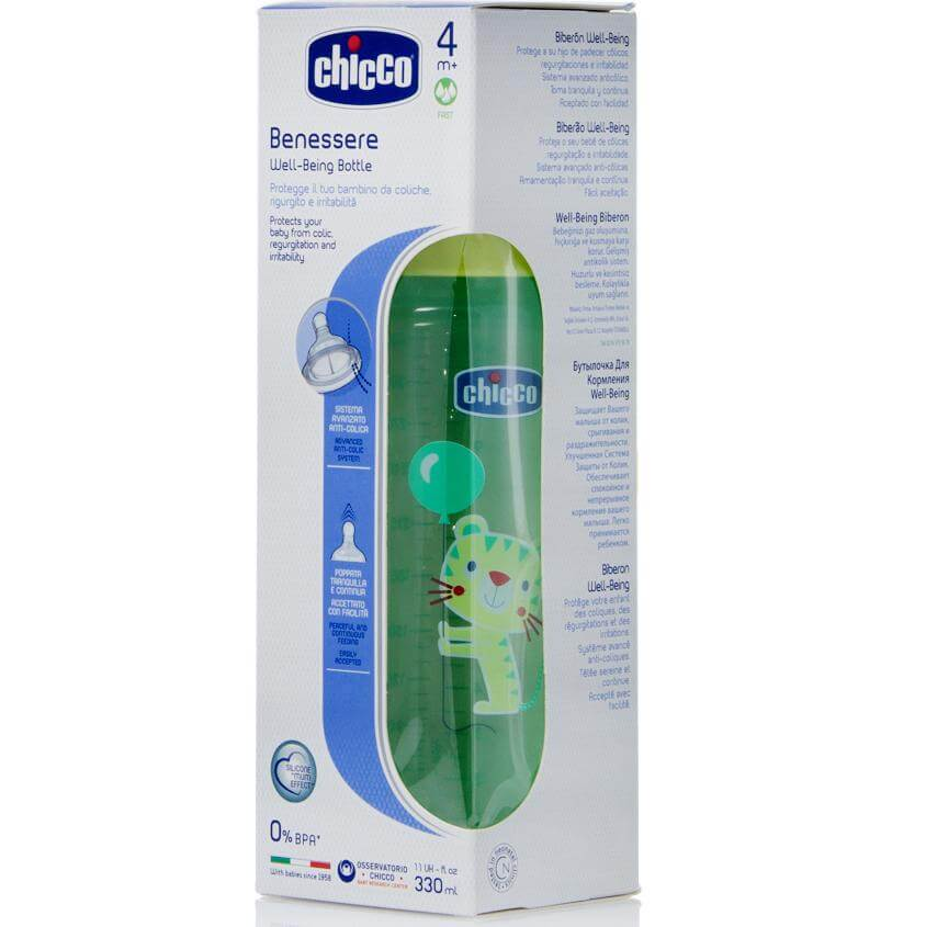 Chicco Well Being Πλαστικό Μπιμπερό Θηλή Σιλικόνης 330ml