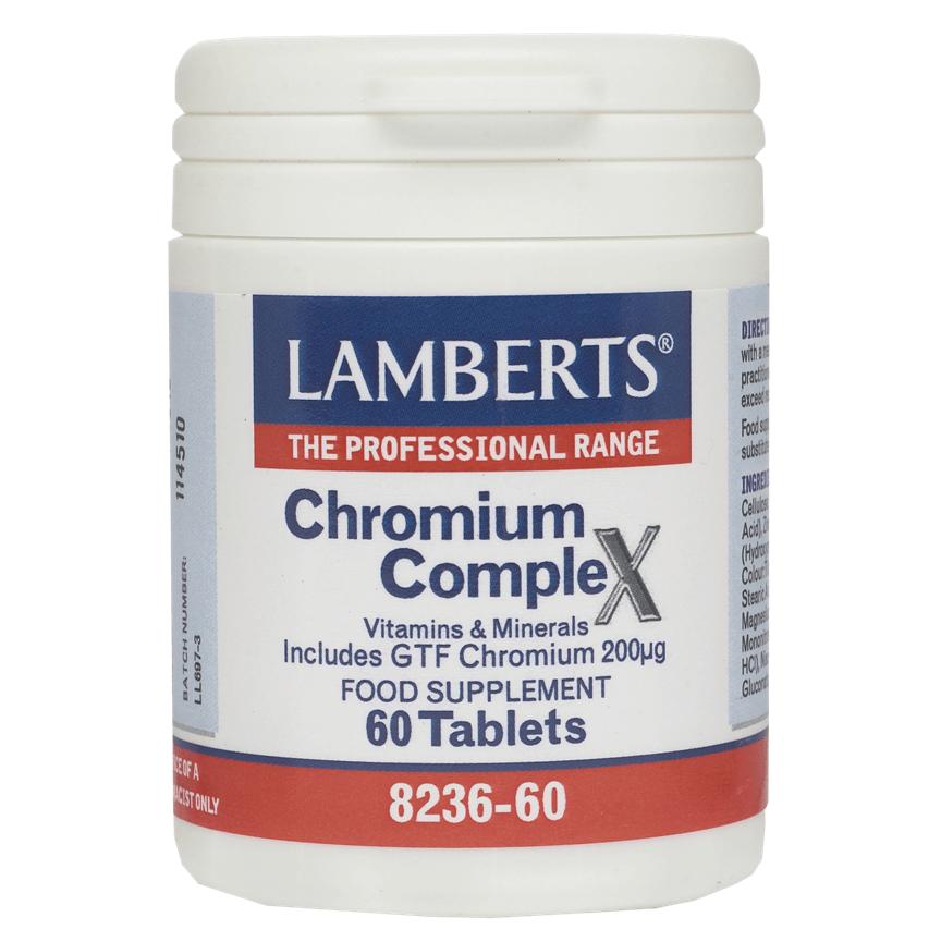 LambertsChromium Complex Συμπλήρωμα Διατροφής με Χρώμιο για τη Διατήρηση του Σακχάρου του Αίματοςσε ΦυσιολογικάΕπίπεδα 60tabs