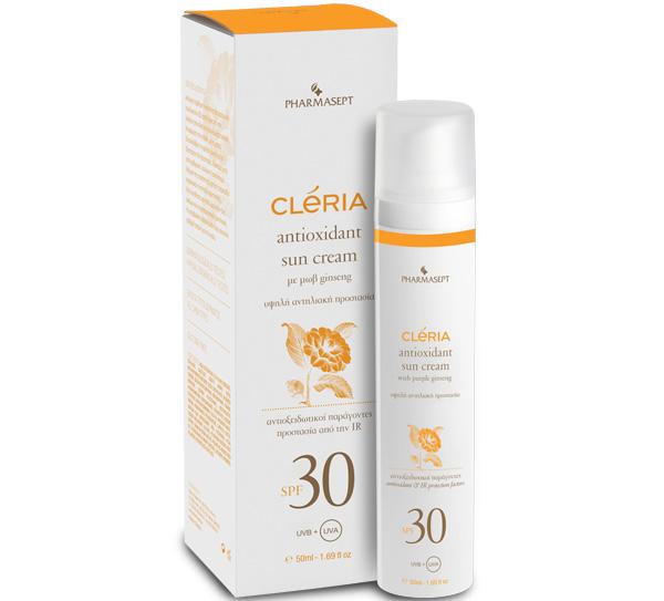 Pharmasept Cleria Antioxidant Sun Cream Spf30 Αντηλιακή Κρέμα Προσώπου με Ενυδατικούς Παράγοντες 50ml