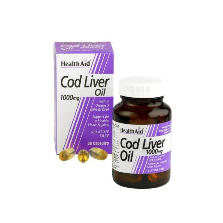Health Aid Cod Liver Oil 1000Mg Vegetarian Capsules Υγεία Της Καρδιάς 30tabs