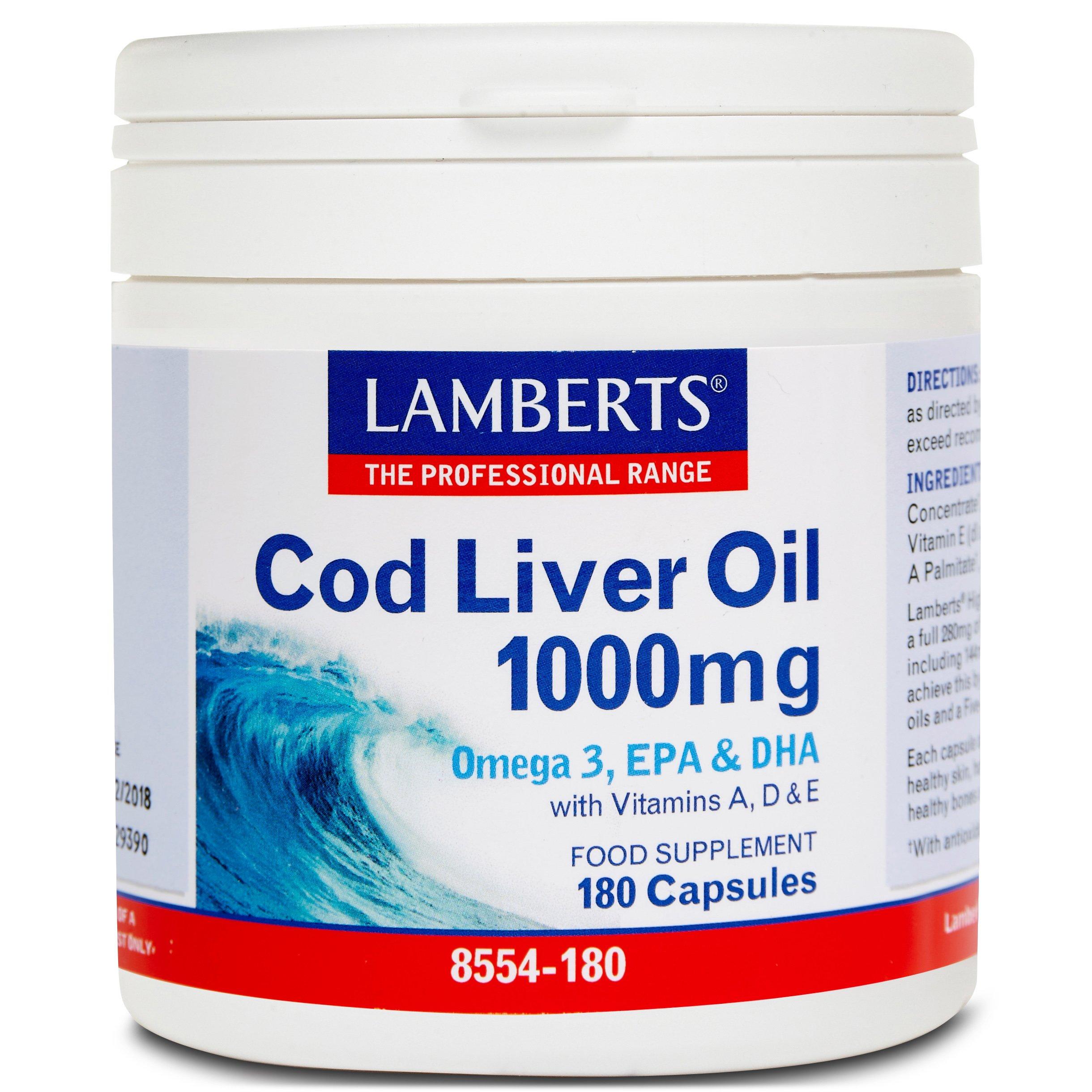 Lamberts Cod Liver Oil Συμπλήρωμα Διατροφής με Ωμέγα 3 Λιπαρά Οξέα 1000mg 180caps