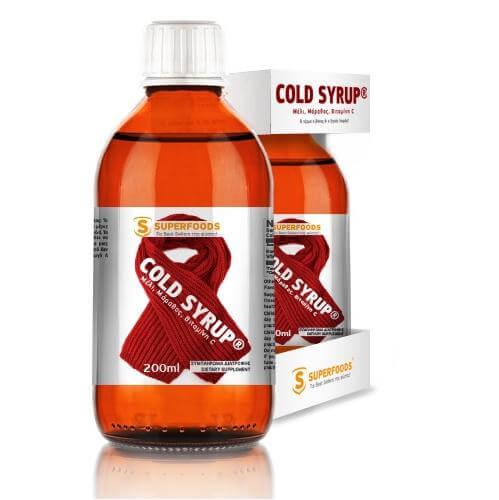 Superfoods Cold Syrup Ανακουφίζει από τον Πονόλαιμο και Μειώνει το Βήχα 200ml