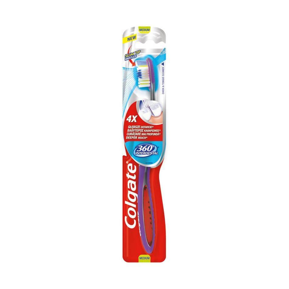 Colgate 360 Interdental Medium Oδοντόβουρτσα Μέτρια που Προσφέρει 4 Φορές Βαθύτερο Καθαρισμό 1 Τεμάχιο