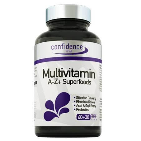 Confidence Multivitamin A-Z + Superfoods 90tabs Εξαιρετική Φόρμουλα Πολλαπλής Διατροφικής Αξίας (60+30 δώρο)