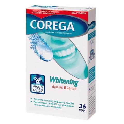 Corega Whitening Καθαριστικά Δισκία Οδοντοστοιχιών 36tabs