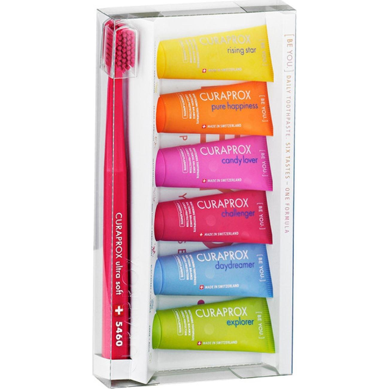 Curaprox Πακέτο Προσφοράς Be You Six Tastes Mini Pack 6x10ml & Δώρο Οδοντόβουρτσα CS5460 (Μίνι Συσκευασία σε 6 Υπέροχες Γεύσεις)