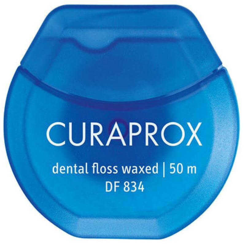 Curaprox DF 834 Dental Floss Waxed Οδοντικό Νήμα Κερωμένο με Γεύση Μέντας 50 Μέτρα