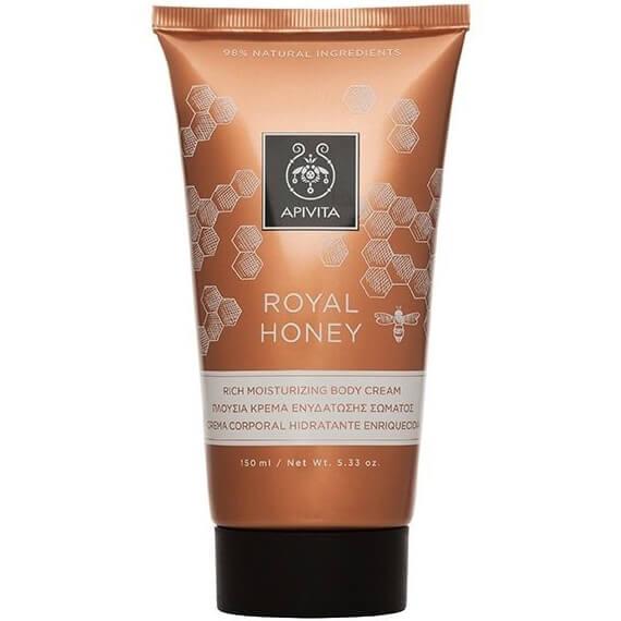 Apivita Royal Honey Rich Moisturizing Body Cream Πλούσια Κρέμα Ενυδάτωσης Σώματος με Μέλι για Ξηρές Επιδερμίδες 150ml