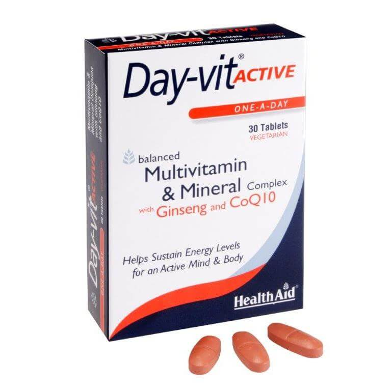Health Aid Day Vit Active Plus Coenzyme Q10 & Ginseng Ενέργεια Τόνωση 30Tabs