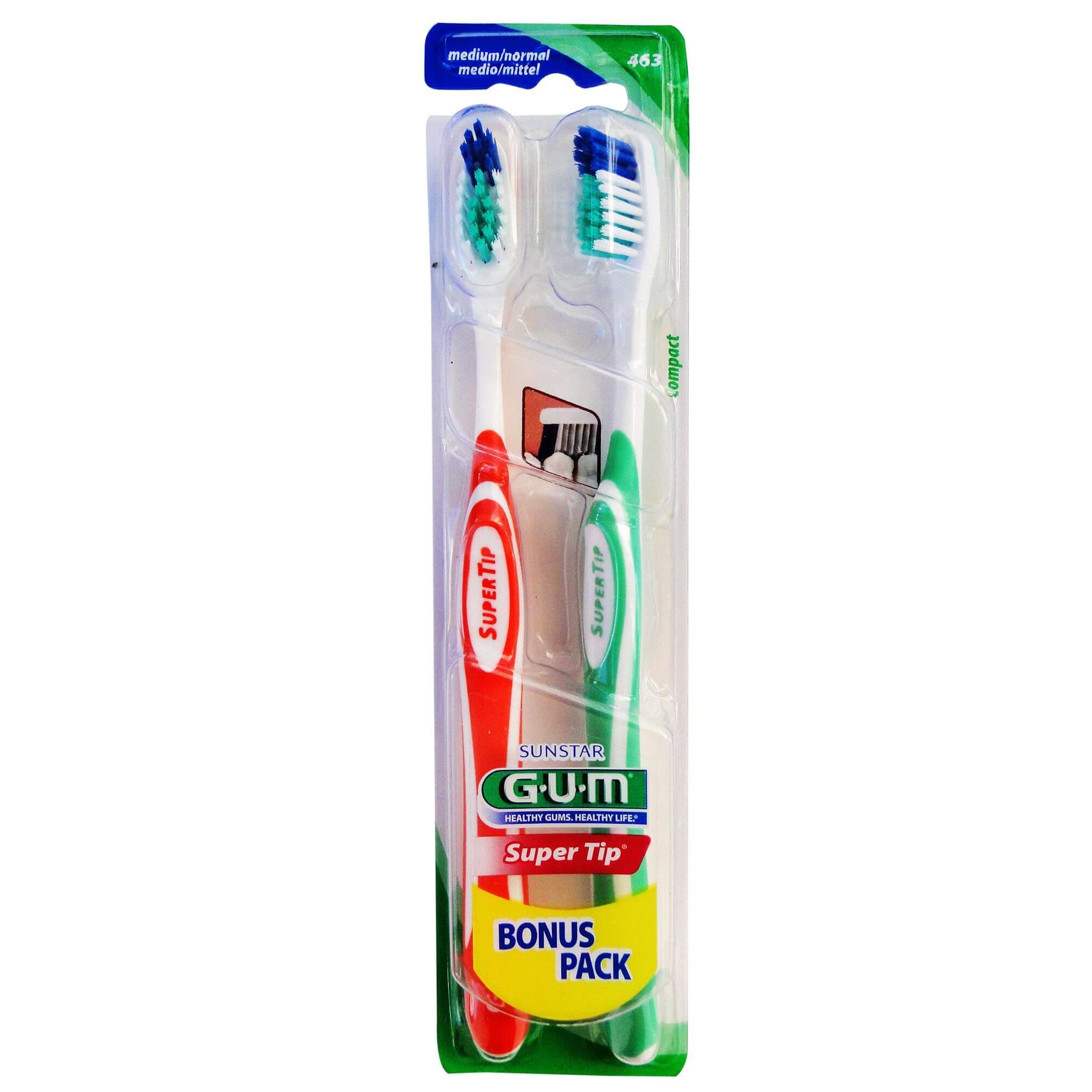 Gum Super Tip Compact Medium/Normal Οδοντόβουρτσα σε Διάφορα Χρώματα 2τμχ (463)