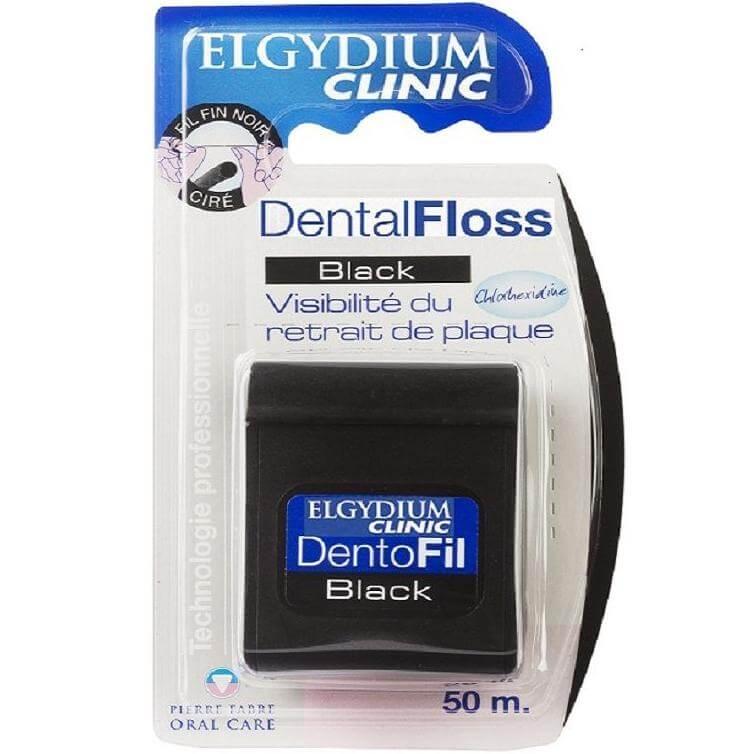 Elgydium Dental Floss Black Οδοντικό Νήμα με Μαύρο Χρώμα, Ελαφρά Κερωμένο & Εμποτισμένο με Χλωρεξιδίνη 50m