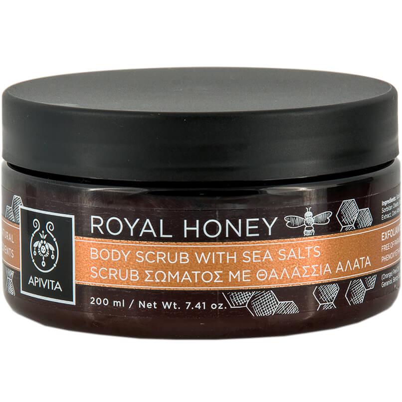 Royal Honey Body Scrub 200ml – Apivita,Scrub Σώματος με Θαλάσσια Άλατα με Μέλι Τόνωση & Αναζωογόνηση