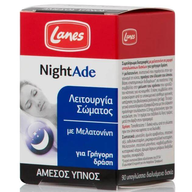Lanes NightAde Ισχυρή Φόρμουλα για Φυσικό & Άμεσο Ύπνο με Μελατονίνη για Γρήγορη Δράση 90 lozenges