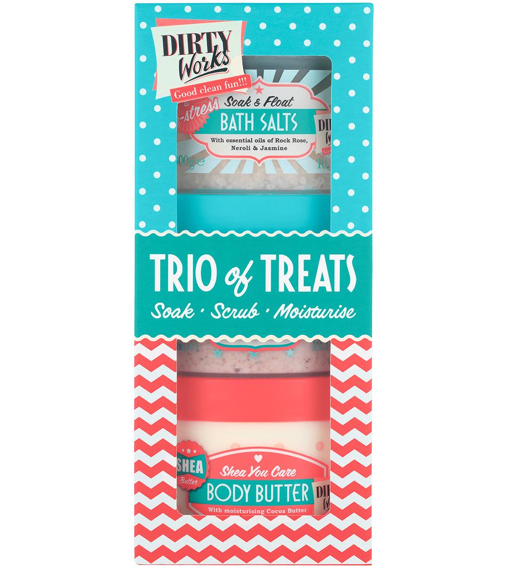 Dirty Works Trio Of Treats Άλατα Μπάνιου, Scrub & Ενυδατική για την Περιποίηση του Σώματος