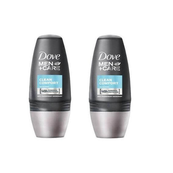 Dove Men Αποσμητικό Roll on Clean Comfort 2 x 50ml Πακέτο 1+1