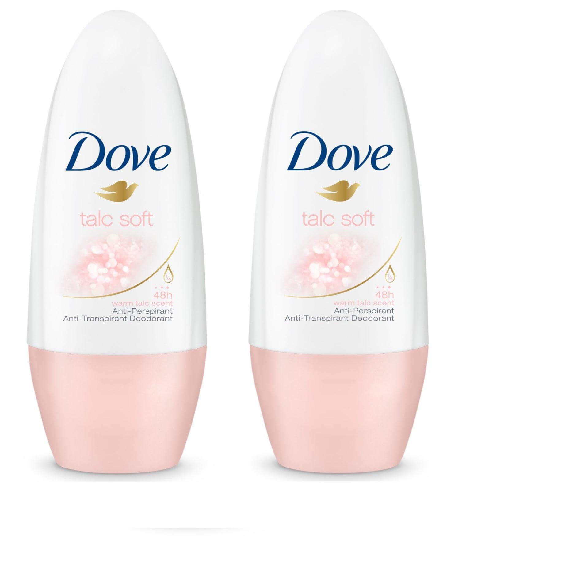 Dove Αποσμητικό Roll on Talc Soft 2 x 50ml Πακέτο 1+1