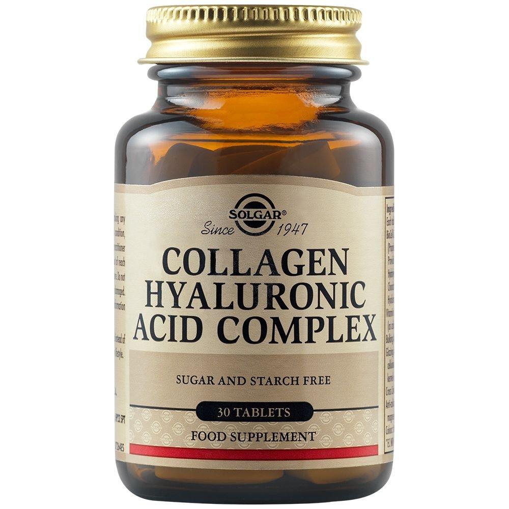 Solgar Collagen Hyaluronic Acid Complex Συμπλήρωμα Διατροφής Κολλαγόνου σε Συνδυασμό με Υαλουρονικό Οξύ 30 Tabs