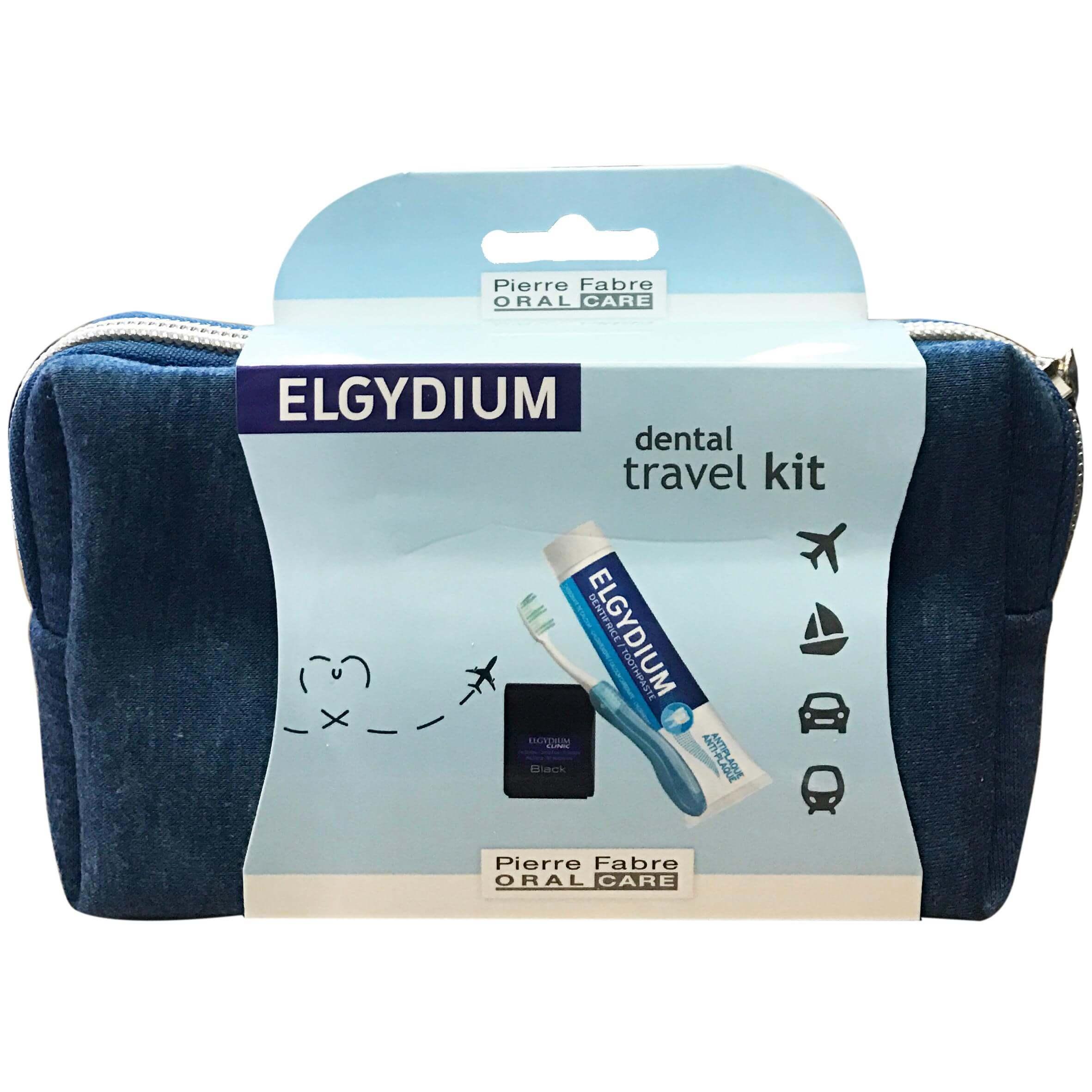 ElgydiumDental Travel Kit Σετ Ταξιδιού με Οδοντόβουρτσα, Οδοντόκρεμα, Οδοντικό Νήμα &Νεσεσέρ σε ΜπλεΧρώμα