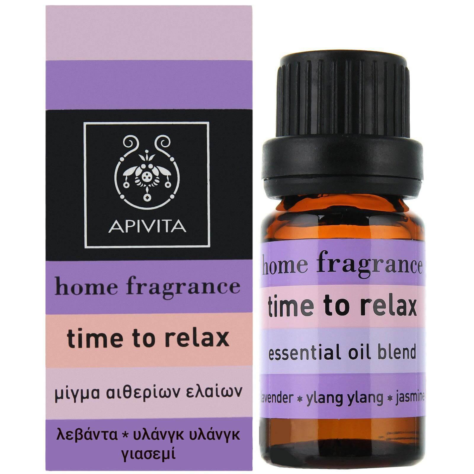Apivita Essential Oil Time To Relax Λεβάντα, Γιασεμί, Υλάνγκ-Υλάνγκ 10ml