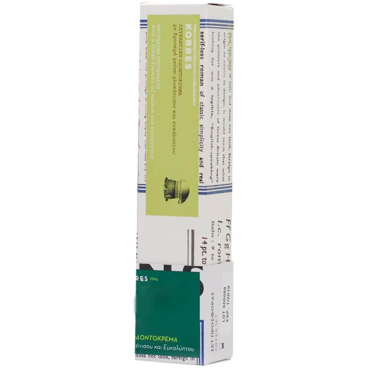Korres Λευκαντική Οδοντόκρεμα Γλυκάνισος & Ευκάλυπτος 75ml