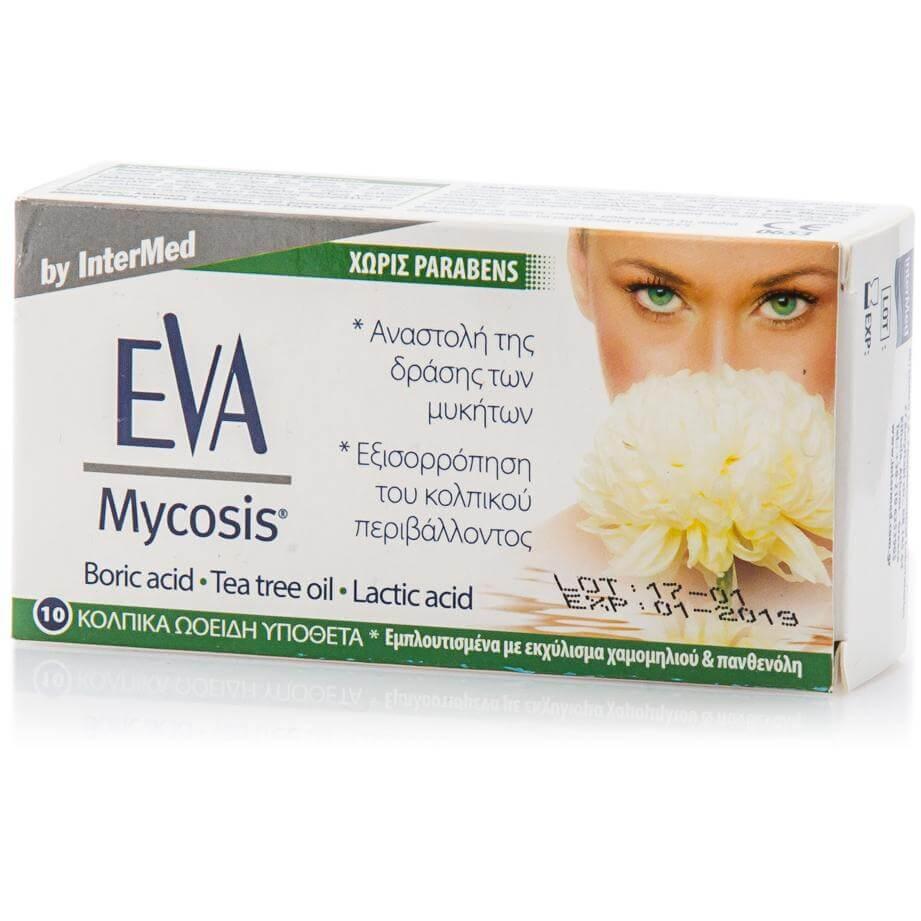 InterMed Eva Mycosis Κολπικά Υπόθετα Εμποτισμένα με Εκχύλισμα Χαμομηλιού & Πανθενόλη 10vag.ovules