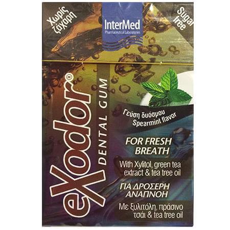 Exodor Dental Gum Οδοντότσιχλα για Δροσερή Αναπνοή με Ξυλιτόλη, Πράσινο Τσάι & Tee Tree Oil 21g